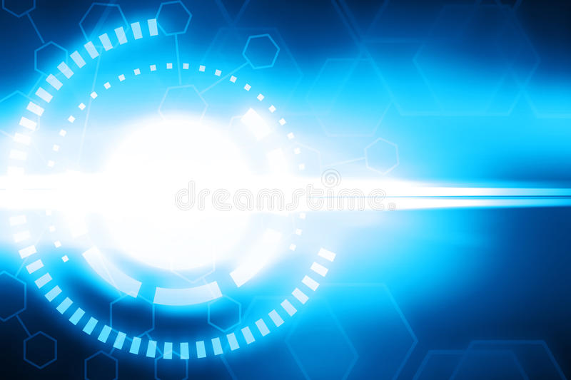 Abstract blue virtual interface and wireframe hexagon glowing te. Chnology background illustration royalty free illustration