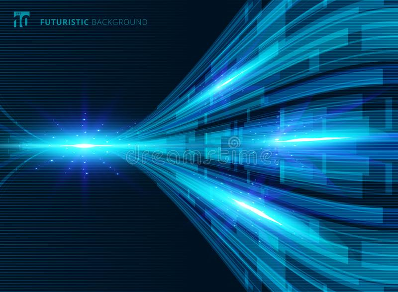 Abstract blue virtual technology concept futuristic digital perspective background. With space for your text. Vector illustration royalty free illustration