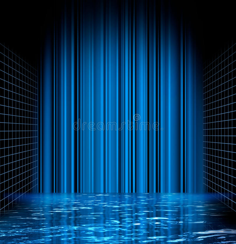 Abstract blue water grid space stock illustration