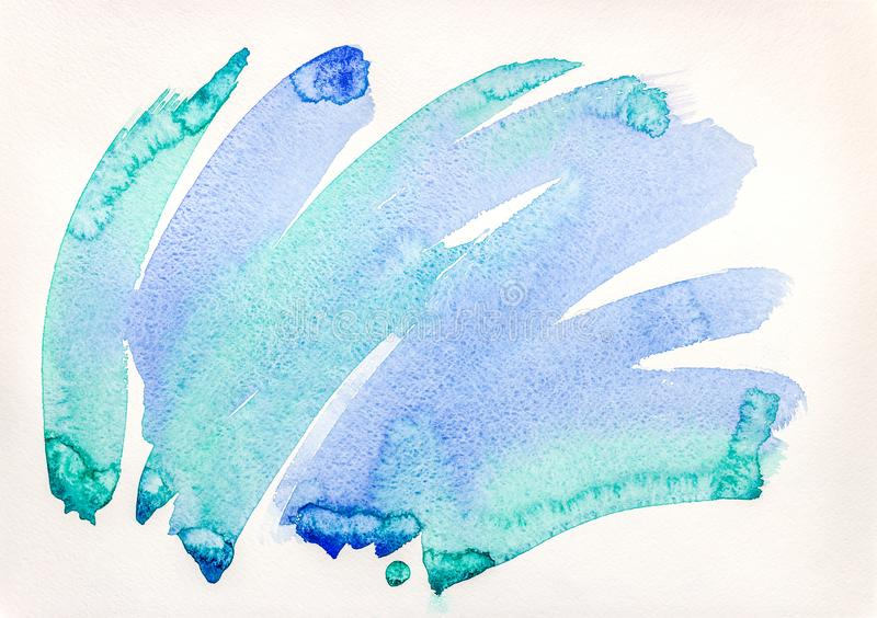 Abstract blue watercolor background. hand drawn on paper stock image