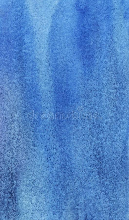 Abstract blue watercolor background. Hand painted on textured paper. royalty free stock photography