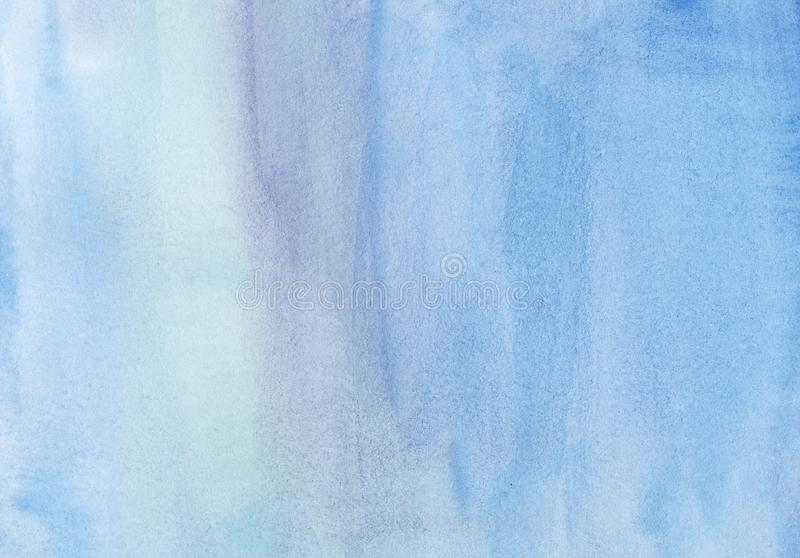 Abstract blue watercolor background. Hand painted on textured paper. stock illustration