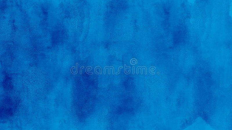 Abstract blue watercolor background illustration. Simple abstract blue color watercolor background illustration with visible pattern stock illustration