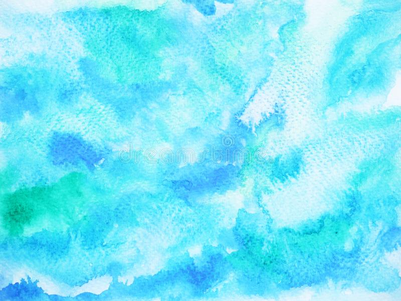 Abstract blue wave sea ocean background, sky watercolor painting vector illustration