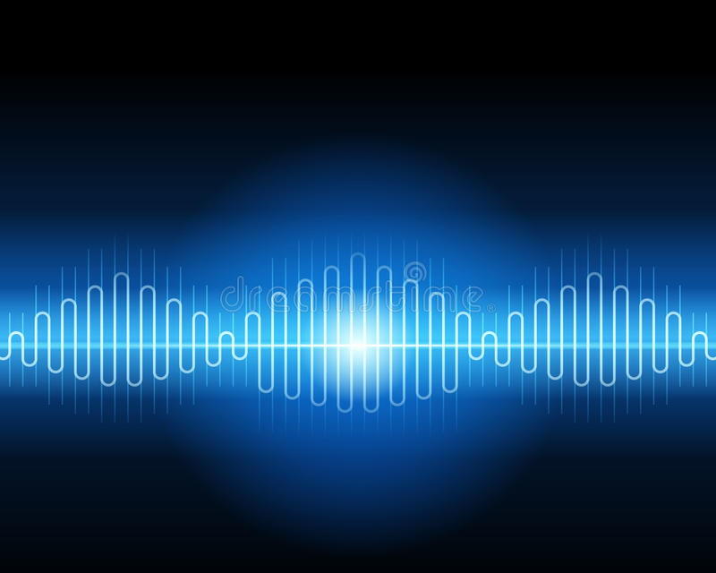 Abstract blue waveform. Vector background stock illustration