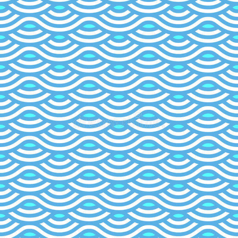 Abstract blue waves seamless pattern vector illustration