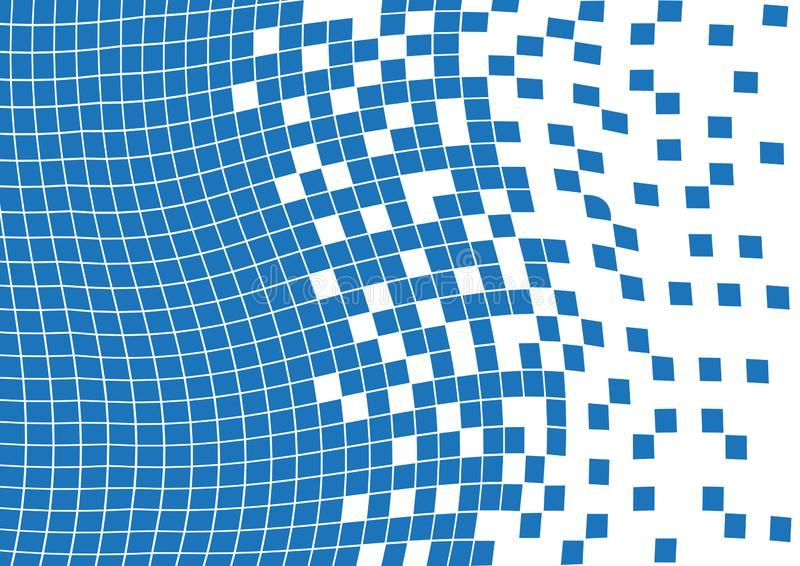 Abstract blue wavy geometric background with squares. Vector stock illustration
