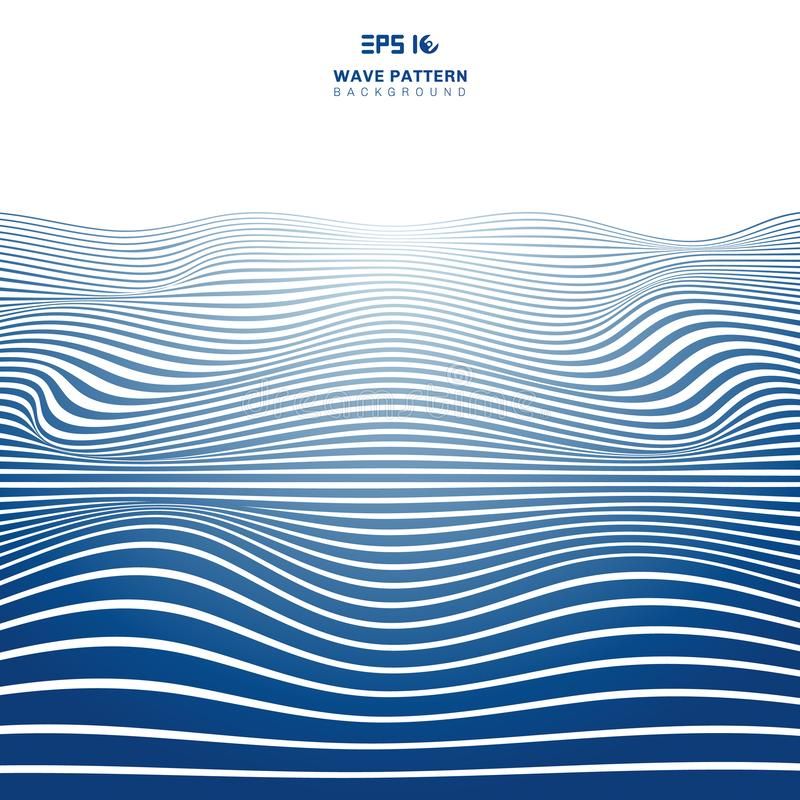 Abstract blue wavy stripes lines wave pattern on white backhround and texture. Rough surface. Vector Illustration stock illustration