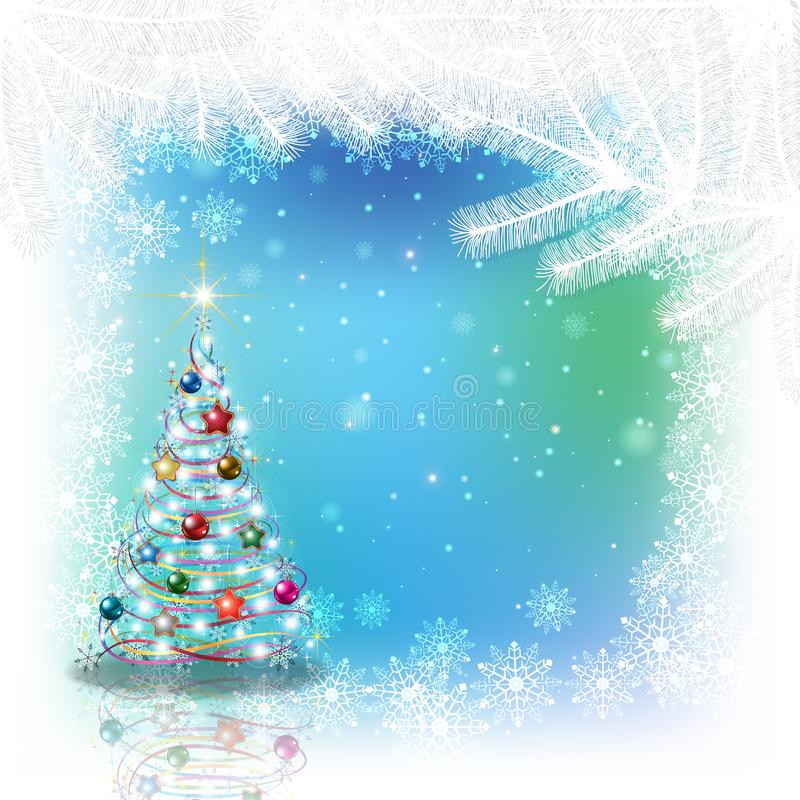 Abstract white background with Christmas tree and decorations vector illustration