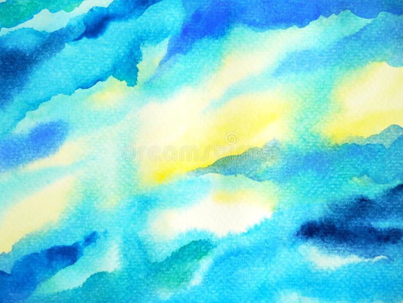 Abstract blue white color sky water sea ocean wave mountain range watercolor painting illustration design vector illustration