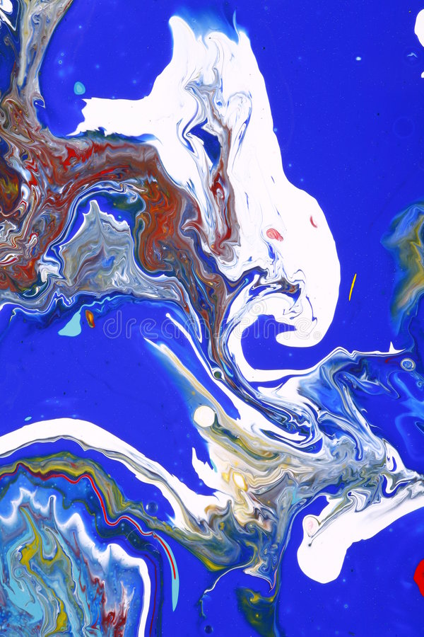Abstract blue white paints stock photography
