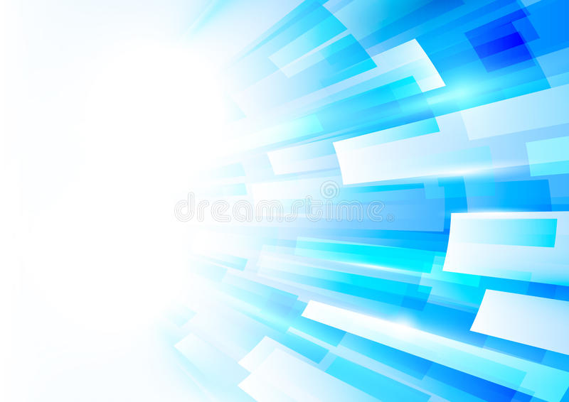 Abstract blue and white rectangles motion technology concept. Abstract blue and white rectangles motion technology digital hi tech concept background royalty free illustration