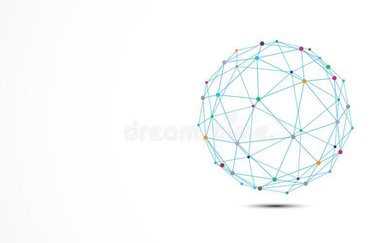 Abstract blue wire frame with colorful dots connection node. Technology and Science concept stock illustration