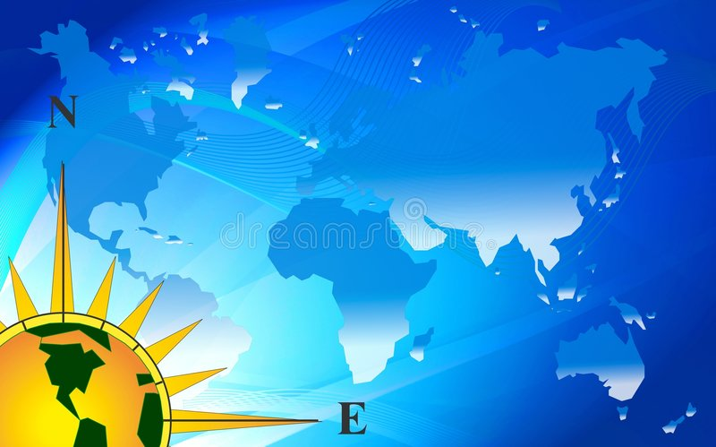 Abstract Blue World Map Stock Photo