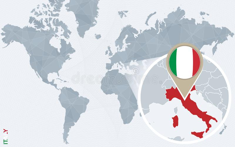 Zoom On Italy Map And Flag World Map Stock Vector Illustration