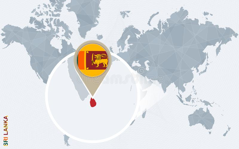 Sri Lanka Map On A World Map With Flag And Map Pointer Vector