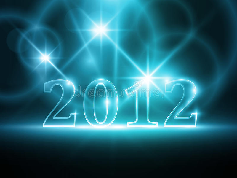 Abstract blue year 2012 background stock illustration