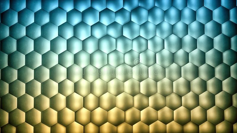 Abstract blue and yellow gradient hexagon background with metal texture 多边形表面 向量例证