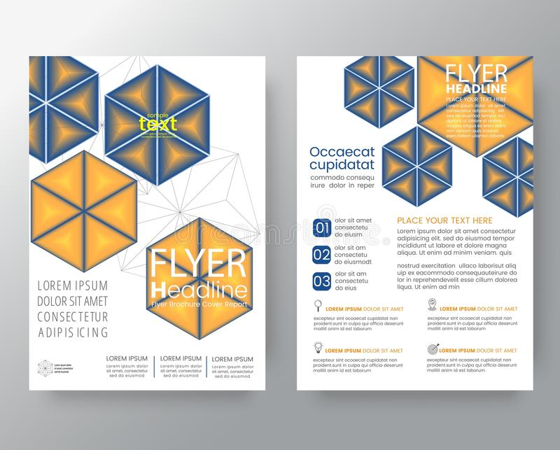 Abstract blue and yellow hexagon Brochure annual report cover Fl. Yer Poster design Layout vector template in A4 size royalty free illustration