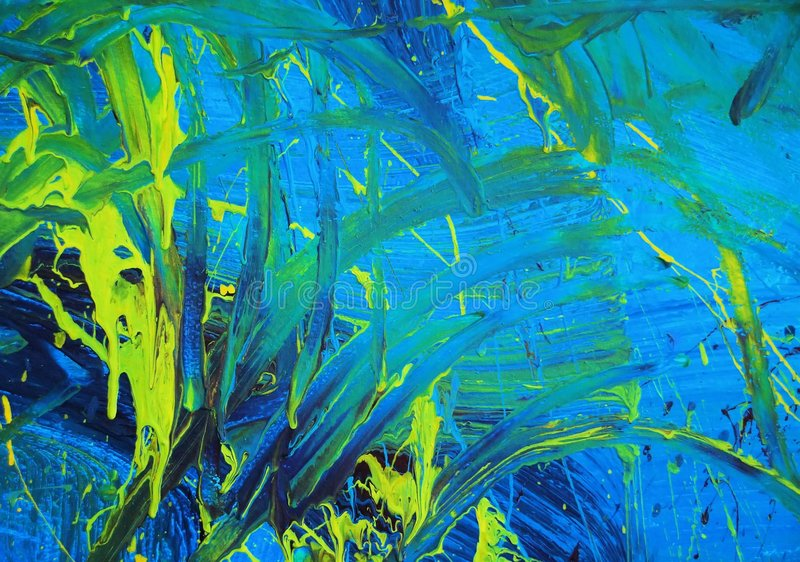 Abstract blue & yellow paint. Abstract paint detail with blue and yellow streaks stock photo