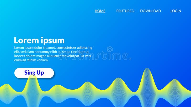 Abstract blue yellow spiral wave modern gradient blue background royalty free illustration