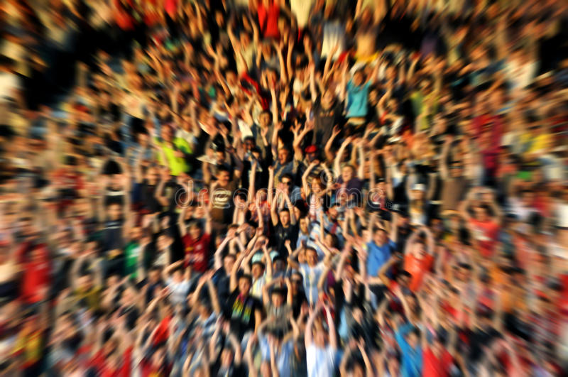 Abstract blur background of crowd of people. Watching concert or sport event stock photo