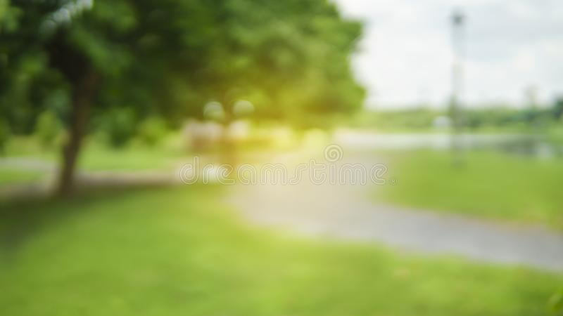 Abstract blur city park bokeh background. stock photo