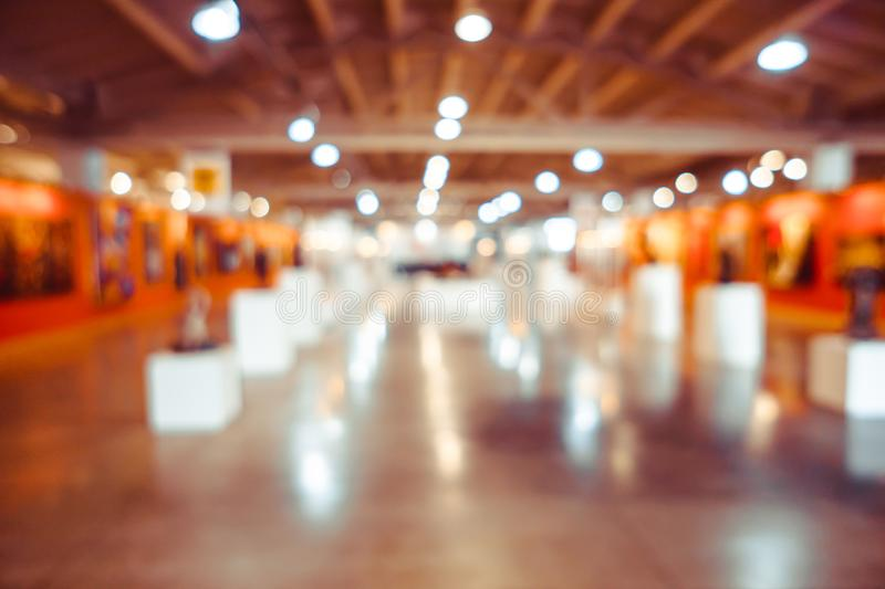 Abstract blur contemporary art gallery for royalty free stock photos