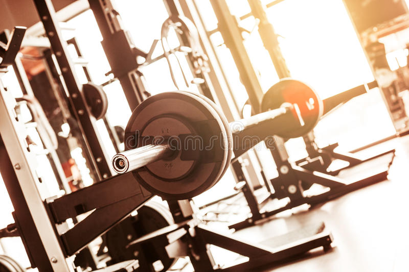 Abstract blur fitness gym background. The abstract blur fitness gym background at sunny day royalty free stock photos
