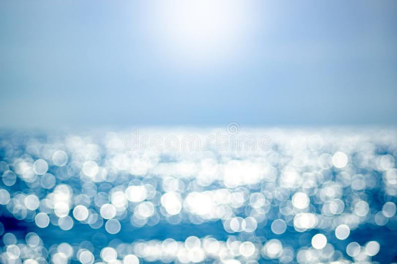 Abstract blur light on sea and ocean background for summer season. Summer background. stock photos