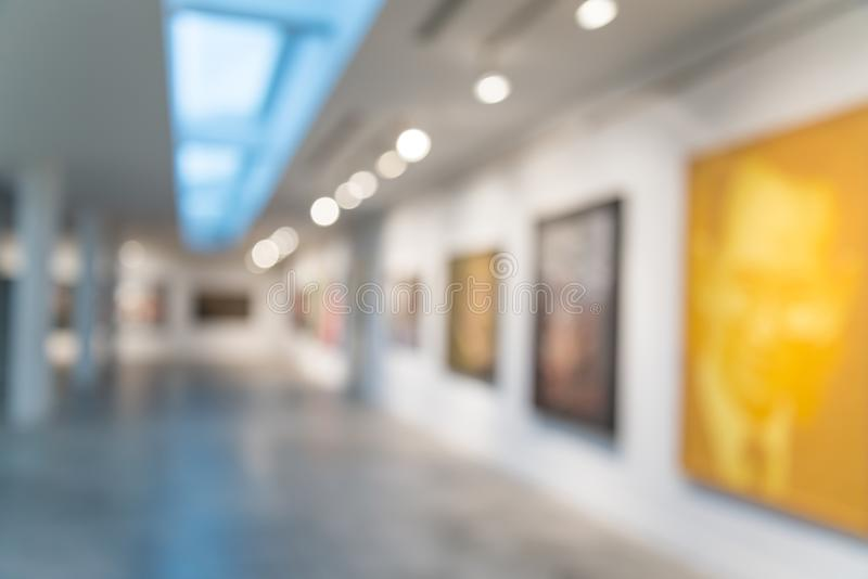 Abstract blur contemporary art gallery background stock photo