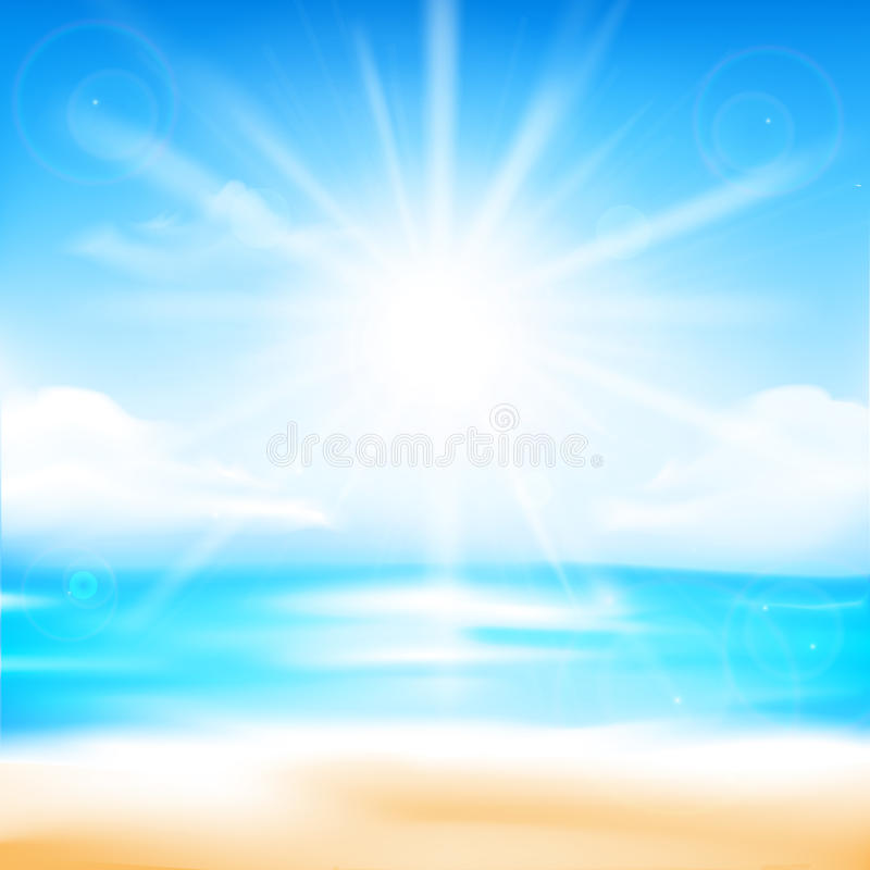 Abstract blur sand beach and blue sky background with sunlight royalty free illustration