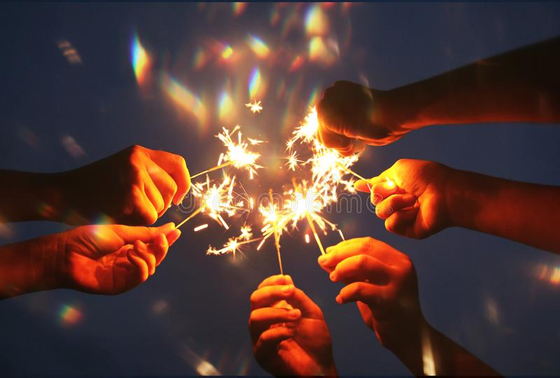 Abstract blur sparklers for celebration royalty free stock photography