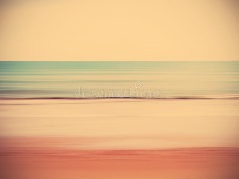 Abstract blur summer beach. Retro abstract cloud and sky summer beach. Blurred panning motion stock image