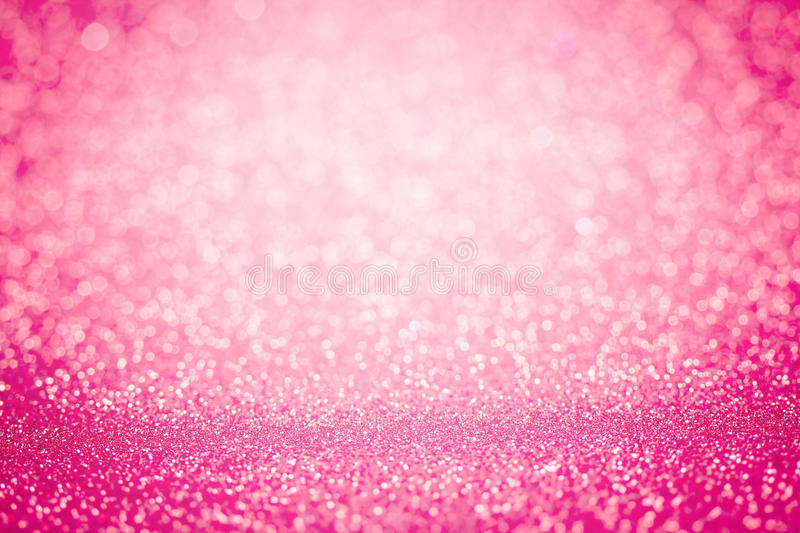 Abstract blur sweet pink bokeh lighting from glitter texture stock images