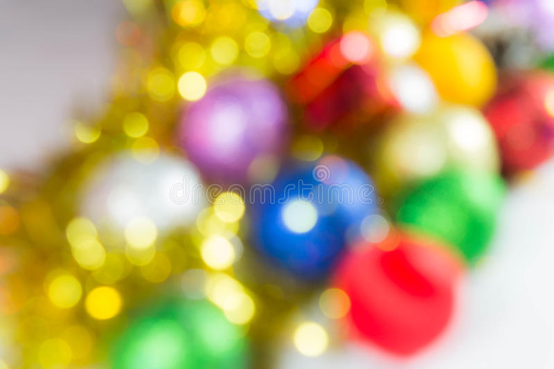 Abstract blured christmas balls ornament. Abstract blured christmas ball ornament on bokeh background royalty free stock image