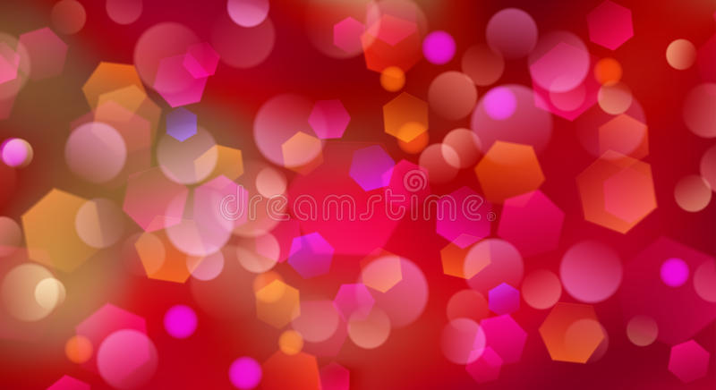 Abstract blurred background. With bokeh effect in red colors stock illustration