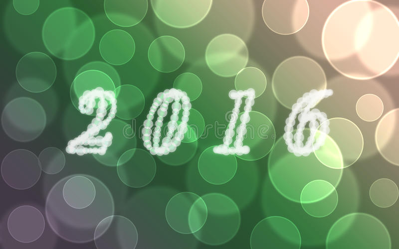 Abstract blurred background 2016 happy new year bokeh. Green tone stock illustration