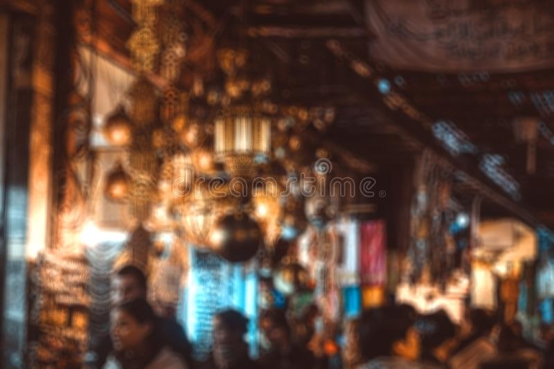 Abstract blurred background of Marrakesh souk market. Abstract blurred background of Marrakesh souk market at night, Morocco royalty free stock photography