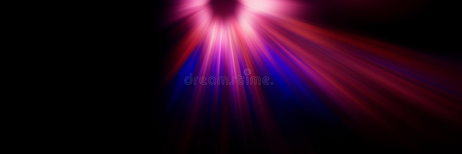 Abstract blurred background, violet flash and descending radial light rays of red, white and blue on a dark background stock illustration