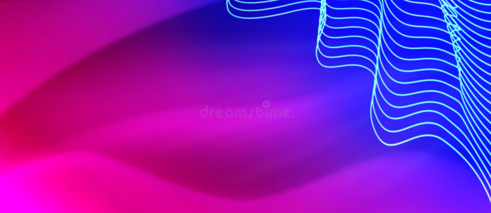 Abstract Curves in Blurred Blue, Pink, Purple and Red Background stock photography