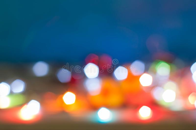 Abstract blurred Christmas light bokeh background. stock photo