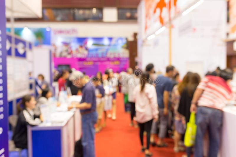 Abstract blurred event exhibition with people background, business convention show concept. stock images