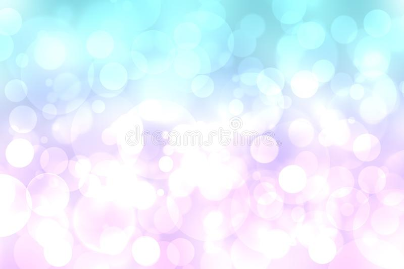 Abstract blurred fresh vivid spring summer light delicate pastel blue pink white bokeh background texture with bright circular. Soft color lights. Beautiful stock illustration