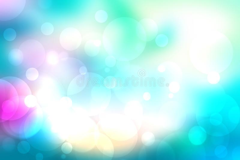 Abstract blurred fresh vivid spring summer light delicate pastel blue pink white yellow bokeh background texture with bright. Circular soft color lights stock illustration
