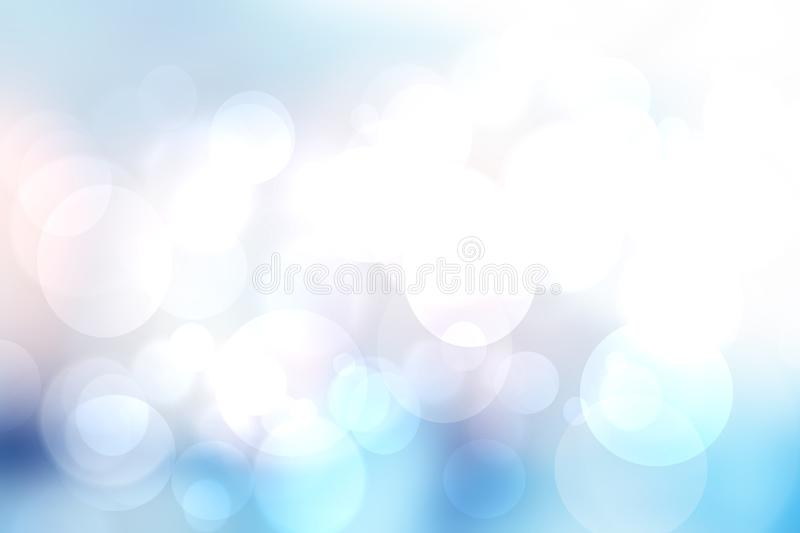 Abstract blurred fresh vivid spring summer light delicate pastel blue white bokeh background texture with bright circular soft. Color lights. Beautiful backdrop royalty free illustration