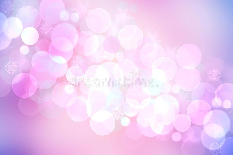 Abstract blurred fresh vivid spring summer light delicate pastel pink blue white bokeh background texture with bright circular. Soft color lights. Beautiful vector illustration