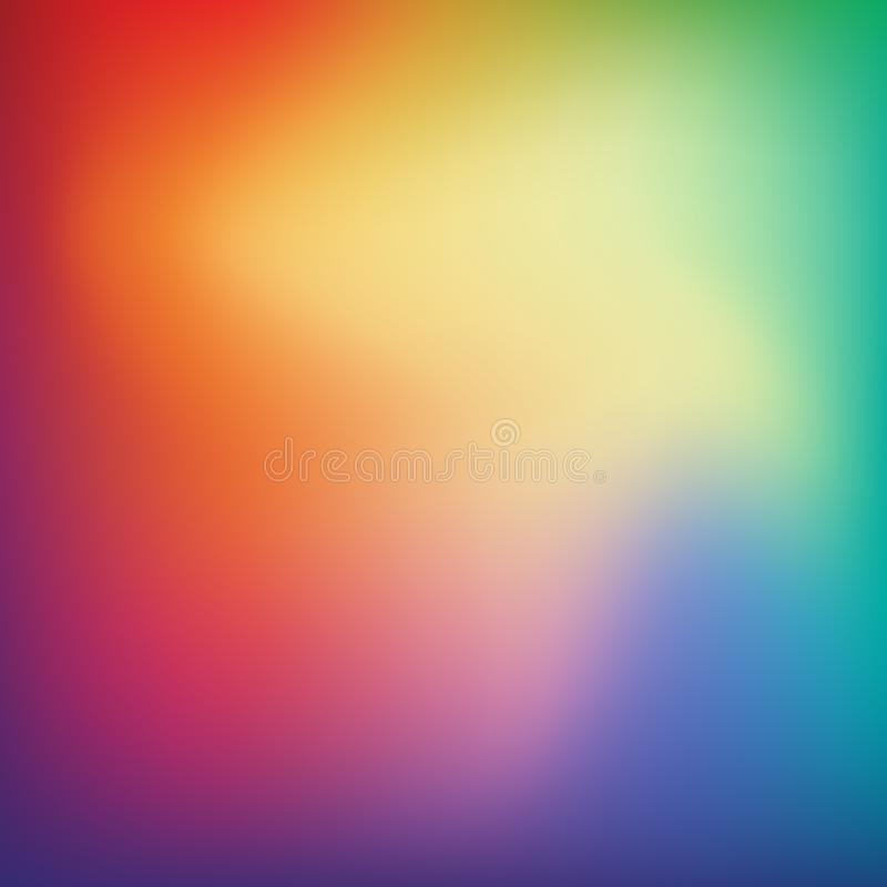 Abstract blurred gradient mesh background in bright rainbow colo. Rs. Colorful smooth banner template. Easy editable soft colored vector illustration. Mesh royalty free illustration