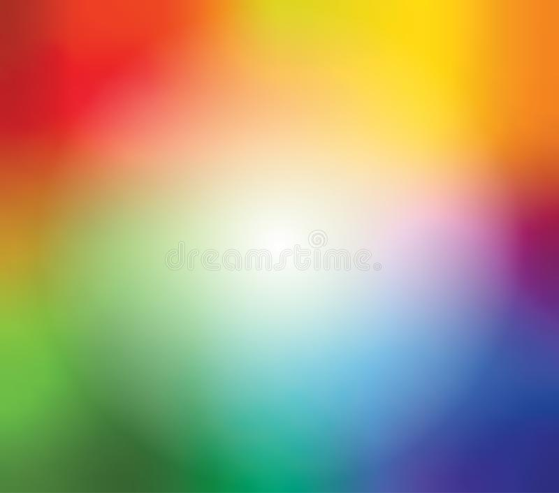 Abstract blurred gradient mesh background in bright rainbow colors. Colorful smooth banner template. Easy editable soft royalty free illustration