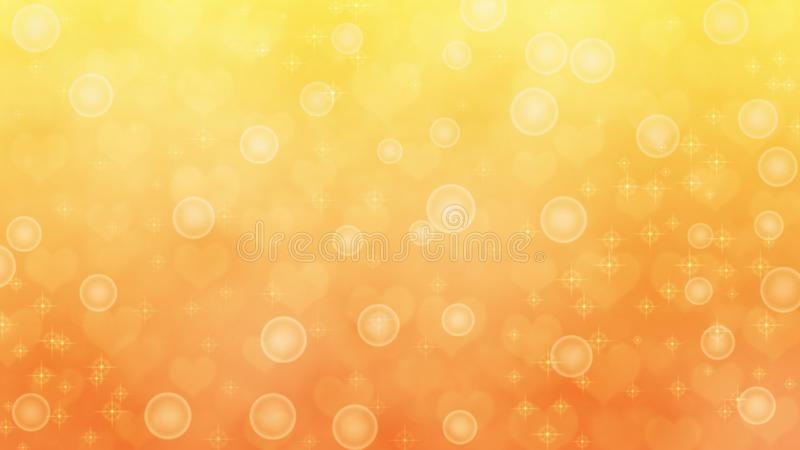 Abstract Blurred Hearts, Sparkles and Bubbles in Yellow and Orange Background. Abstract image of blurry hearts, bubbles, bokeh and sparkles in orange and yellow royalty free stock image